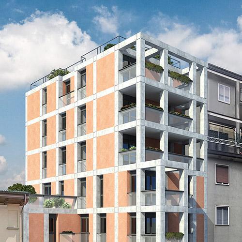 Modellazione 3D E Rendering Edificio Residenziale A Milano